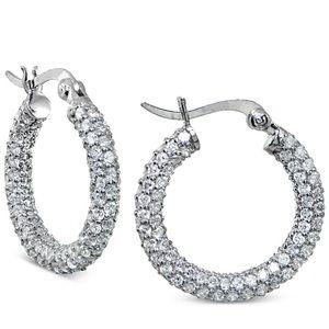 NWT Small Crystal Pavè Hoop Earrings
